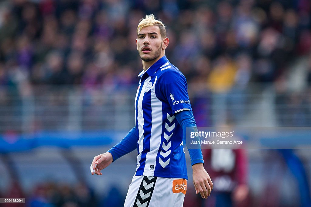 Theo Hernandez of Deportivo Alaves reacts during the La Liga match between SD Eibar and Deportivo Alaves at Ipurua Municipal Stadium on December 11, 2016 in Eibar, Spain.