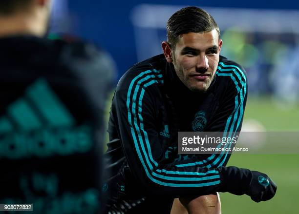 Theo Hernandez of Real Madrid CF looks on prior to the Copa del Rey quarter final first leg match between Real Madrid CF and Club Deportivo Leganes...
