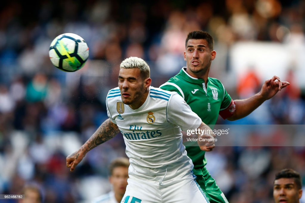 Theo Hernandez of Real Madrid competes for the ball with Gabriel Pires of Leganes during the La Liga match between Real Madrid and Leganes at Estadio Santiago Bernabeu on April 28, 2018 in Madrid, Spain.