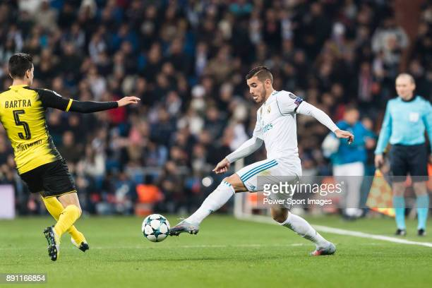 Theo Hernandez of Real Madrid dribbles Borussia Dortmund Defender Marc Bartra during the Europe Champions League 201718 match between Real Madrid and...