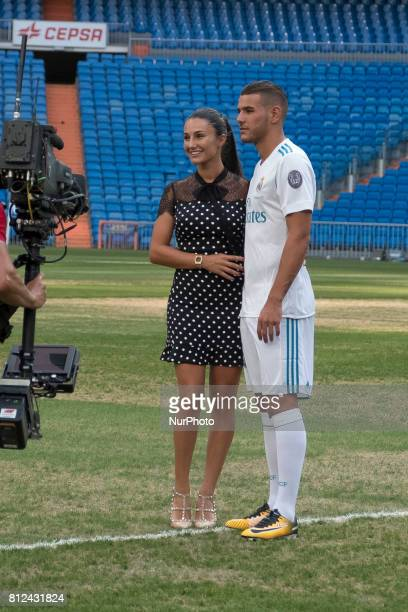 Theo Hernandez of Real Madrid during his official presentation at Estadio Santiago Bernabeu on July 10 2017 in Madrid Spain