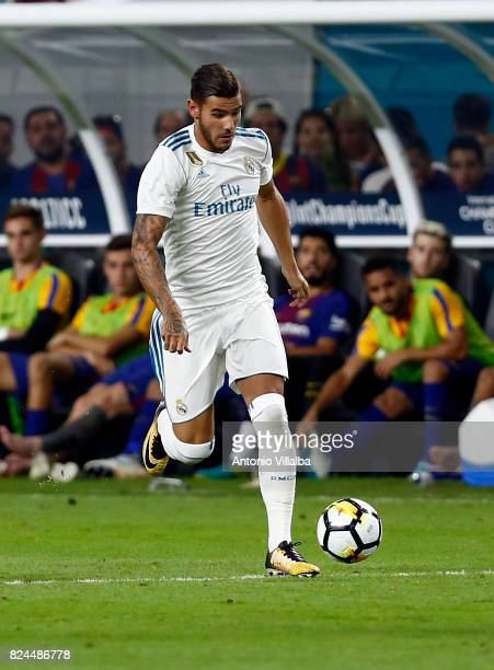 Theo Hernandez of Real Madrid during the international champions cup match between Real Madrid CF and FC Barcelona at Hard Rock Stadium on July 29...