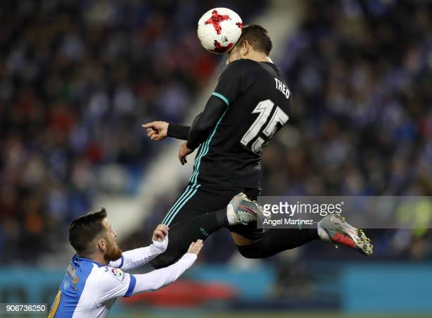 Theo Hernandez of Real Madrid heads the ball during the Spanish Copa del Rey Quarter Final First Leg match between Leganes and Real Madrid at Estadio...