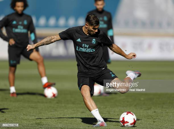 Theo Hernandez of Real Madrid in action during a training session at Valdebebas training ground on October 25 2017 in Madrid Spain