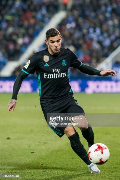 Theo Hernandez of Real Madrid in action during the Copa del Rey 201718 match between CD Leganes and Real Madrid at Estadio Municipal Butarque on 18...