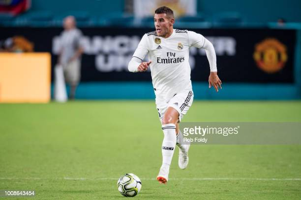 Theo Hernandez of Real Madrid in action during the International Champions Cup match against Manchester United at Hard Rock Stadium on July 31 2018...