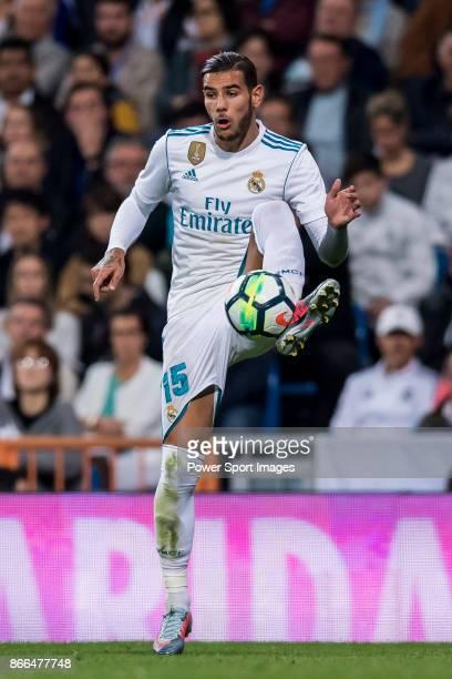 Theo Hernandez of Real Madrid in action during the La Liga 201718 match between Real Madrid and SD Eibar at Estadio Santiago Bernabeu on 22 October...