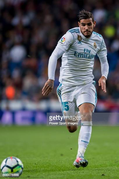 Theo Hernandez of Real Madrid in action during the La Liga 201718 match between Real Madrid and SD Eibar at Estadio Santiago Bernabeu on 22 October...