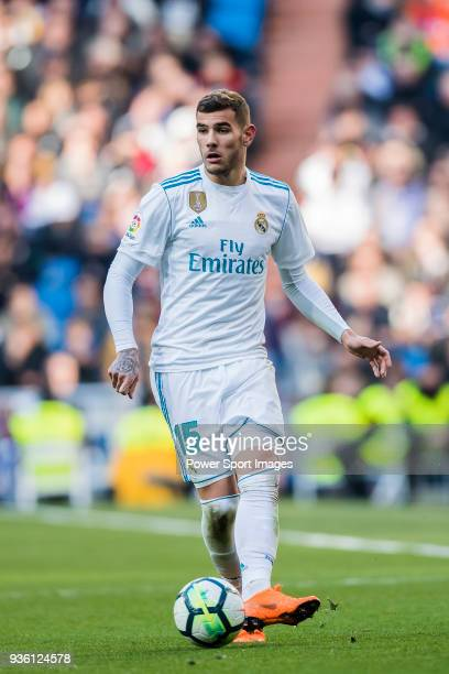 Theo Hernandez of Real Madrid in action during the La Liga 201718 match between Real Madrid and Deportivo Alaves at Santiago Bernabeu Stadium on...