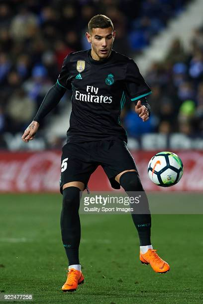 Theo Hernandez of Real Madrid in action during the La Liga match between CD Leganes and Real Madrid at Estadio Municipal de Butarque on February 21...