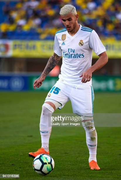 Theo Hernandez of Real Madrid in action during the La Liga match between Las Palmas and Real Madrid at Estadio Gran Canaria on March 31 2018 in Las...