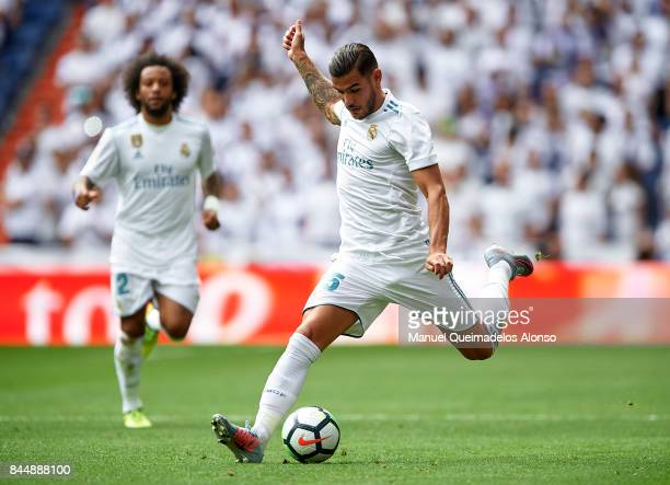 Theo Hernandez of Real Madrid in action during the La Liga match between Real Madrid and Levante at Estadio Santiago Bernabeu on September 9 2017 in...