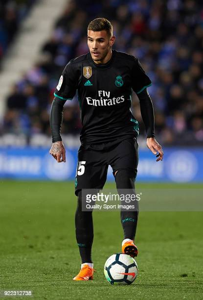 Theo Hernandez of Real Madrid in action during the La Liga match between Leganes and Real Madrid at Estadio Municipal de Butarque on February 21 2018...