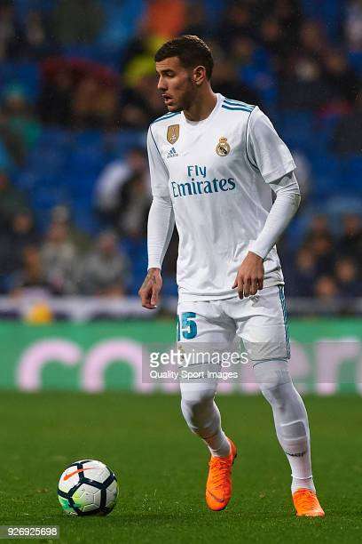 Theo Hernandez of Real Madrid in action during the La Liga match between Real Madrid and Getafe at Estadio Santiago Bernabeu on March 3 2018 in...