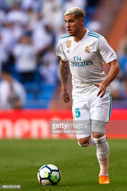 Theo Hernandez of Real Madrid in action during the La Liga match between Real Madrid and Leganes at Estadio Santiago Bernabeu on April 28 2018 in...