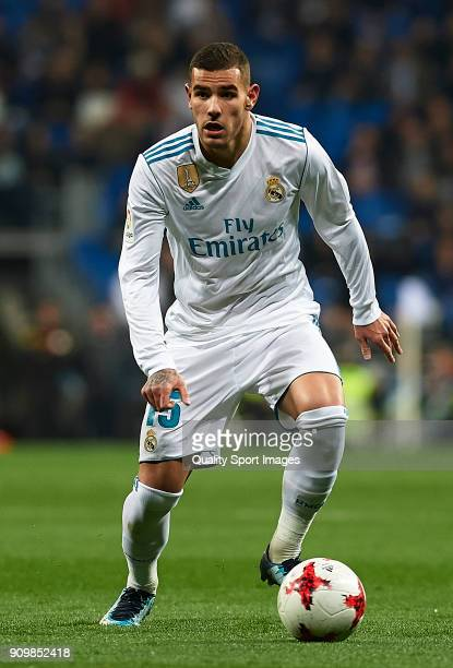 Theo Hernandez of Real Madrid in action during the Spanish Copa del Rey Quarter Final Second Leg match between Real Madrid and Leganes at Bernabeu on...