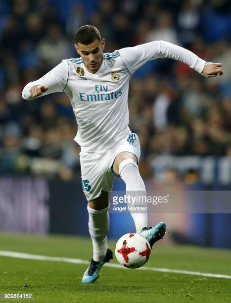 Theo Hernandez of Real Madrid in action during the Spanish Copa del Rey Quarter Final Second Leg match between Real Madrid and Leganes at Estadio...