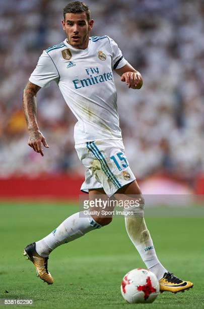 Theo Hernandez of Real Madrid in action during the Trofeo Santiago Bernabeu match between Real Madrid and ACF Fiorentina at Estadio Santiago Bernabeu...