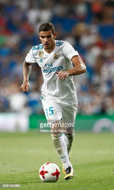 Theo Hernandez of Real Madrid in actions during the match Trofeo Santiago Bernabeu between Real Madrid CF and Fiorentina at Santiago Bernabeu Stadium...