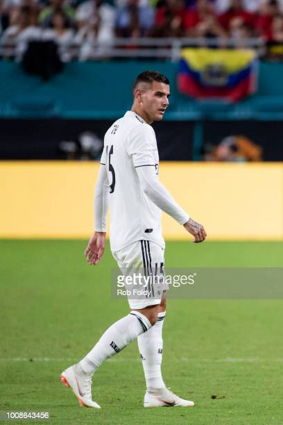 Theo Hernandez of Real Madrid looks on during the International Champions Cup match against Manchester United at Hard Rock Stadium on July 31 2018 in...