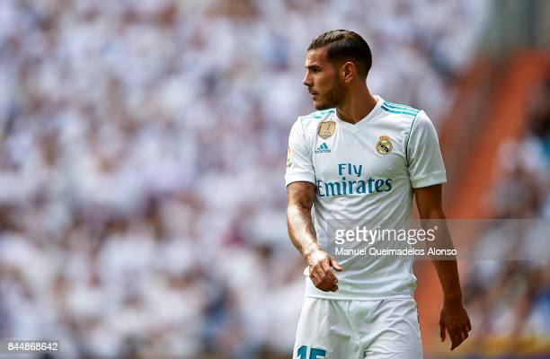Theo Hernandez of Real Madrid looks on during the La Liga match between Real Madrid and Levante at Estadio Santiago Bernabeu on September 9 2017 in...