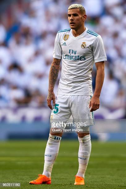 Theo Hernandez of Real Madrid looks on during the La Liga match between Real Madrid and Leganes at Estadio Santiago Bernabeu on April 28 2018 in...