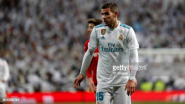 Theo Hernandez of Real Madrid looks on during the Spanish Copa del Rey match between Real Madrid and Numancia at Santiago Bernabeu on January 10 2018...