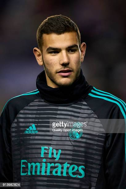 Theo Hernandez of Real Madrid looks on prior the La Liga match between Levante and Real Madrid at Ciutat de Valencia Stadium on February 3 2018 in...