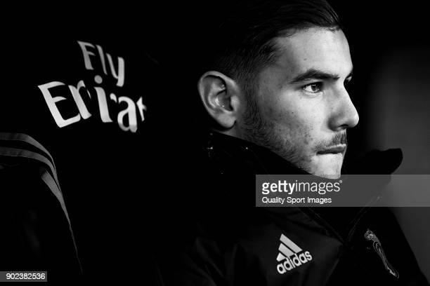 Theo Hernandez of Real Madrid looks on prior to the La Liga match between Celta de Vigo and Real Madrid at Estadio de Balaidos on January 7 2018 in...