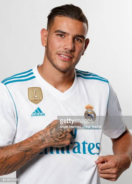 Theo Hernandez of Real Madrid poses during his official presentation at Estadio Santiago Bernabeu on July 10 2017 in Madrid Spain