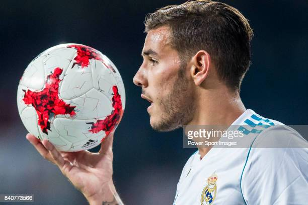 Theo Hernandez of Real Madrid reacts during the Santiago Bernabeu Trophy 2017 match between Real Madrid and ACF Fiorentina at the Santiago Bernabeu...