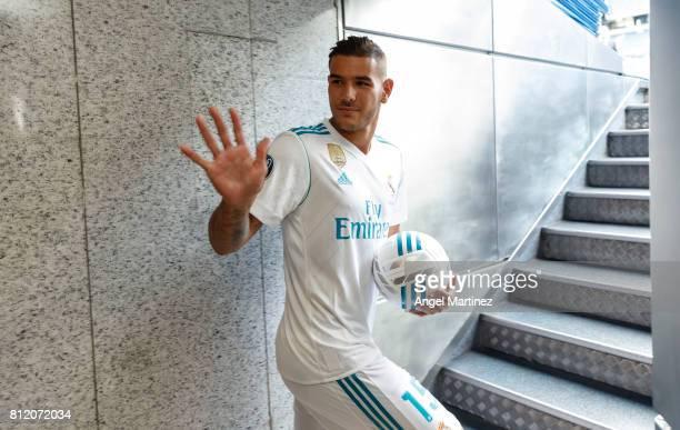 Theo Hernandez of Real Madrid waves during his official presentation at Estadio Santiago Bernabeu on July 10 2017 in Madrid Spain