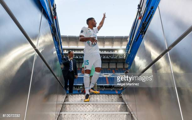 Theo Hernandez of Real Madrid waves the fans during his official presentation at Estadio Santiago Bernabeu on July 10 2017 in Madrid Spain