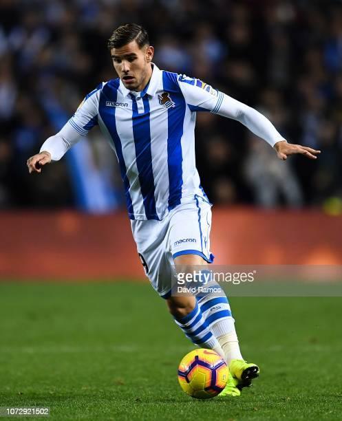 Theo Hernandez of Real Sociedad de Futbol runs with the ball during the La Liga match between Real Sociedad and RC Celta de Vigo at Estadio Anoeta on...