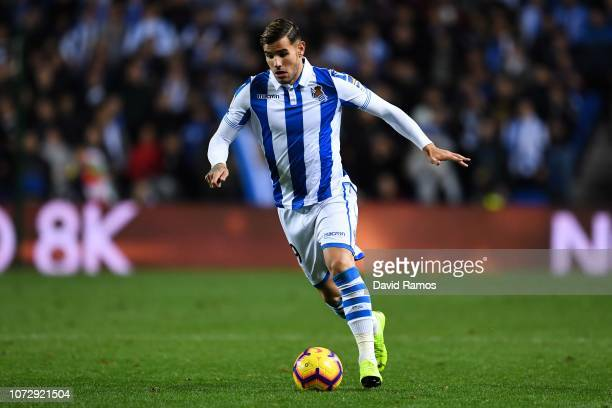 Theo Hernandez of Real Sociedad de Futbol runs with the ball during the La Liga match between Real Sociedad and RC Celta de Vigo at Estadio Anoeta on...
