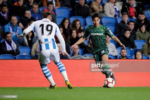 Theo Hernandez of Real Sociedad Diego Lainez Leyva of Real Betis during the La Liga Santander match between Real Sociedad v Real Betis Sevilla at the...