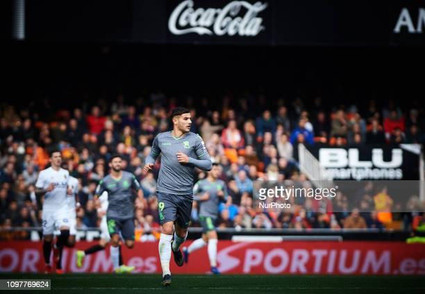 Theo Hernandez of Real Sociedad during the La Liga match between Valencia and Real Sociedad at Estadio de Mestalla on February 10 2019 in Valencia...