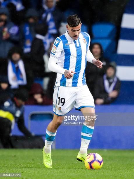 Theo Hernandez of Real Sociedad during the La Liga Santander match between Real Sociedad v Athletic de Bilbao at the Estadio Anoeta on February 2...