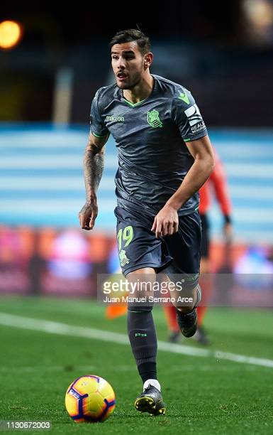 Theo Hernandez of Real Sociedad in action during the La Liga match between Real Sociedad and CD Leganes at Estadio Anoeta on February 16 2019 in San...