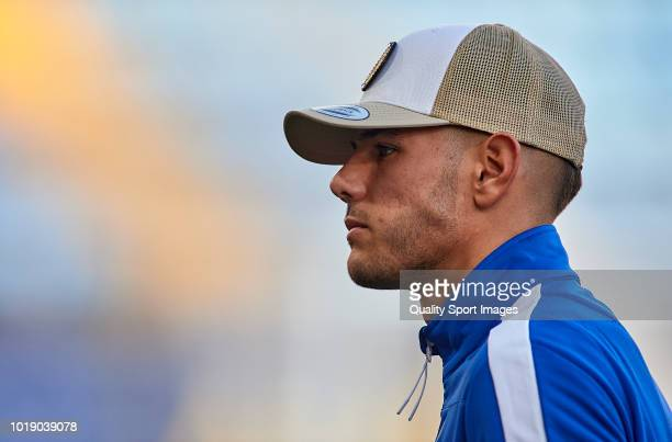 Theo Hernandez of Real Sociedad looks on prior to the La Liga match between Villarreal CF and Real Sociedad at Estadio de la Ceramica on August 18...