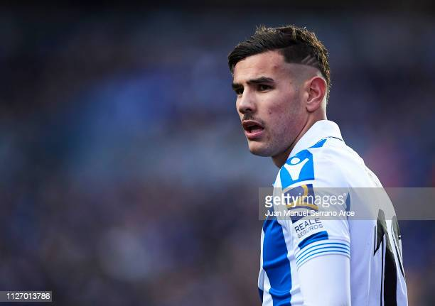 Theo Hernandez of Real Sociedad reacts during the La Liga match between Real Sociedad and Athletic Club at Estadio Anoeta on February 02 2019 in San...