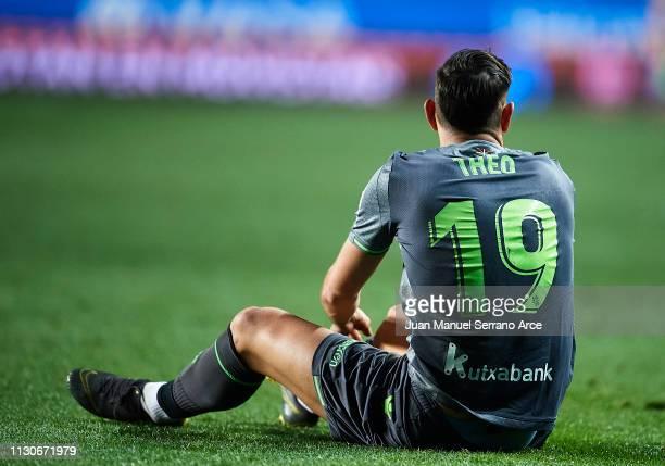Theo Hernandez of Real Sociedad reacts during the La Liga match between Real Sociedad and CD Leganes at Estadio Anoeta on February 16 2019 in San...