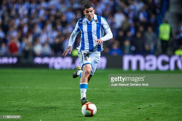 Theo Hernandez of Real Sociedad runs with the ball during the La Liga match between Real Sociedad and Levante UD at Estadio Anoeta on March 15 2019...