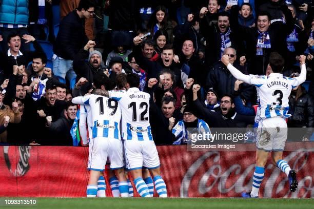 Theo Hernandez of Real Sociedad Willian Jose of Real Sociedad Mikel Oyarzabal of Real Sociedad Llorente of Real Sociedad during the La Liga Santander...