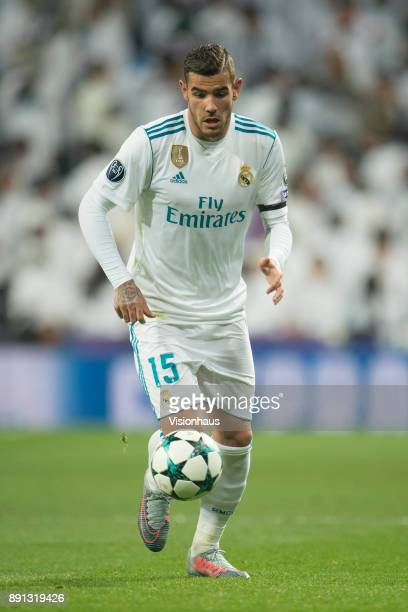 Theo Hernández of Real Madrid during the UEFA Champions League Group H match between Real Madrid CF and Borussia Dortmund at the Bernabeu Stadium on...
