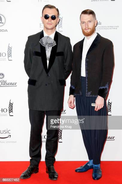 Theo Hutchcraft and Adam Anderson members of the band Hurts attend the Echo award red carpet on April 6 2017 in Berlin Germany