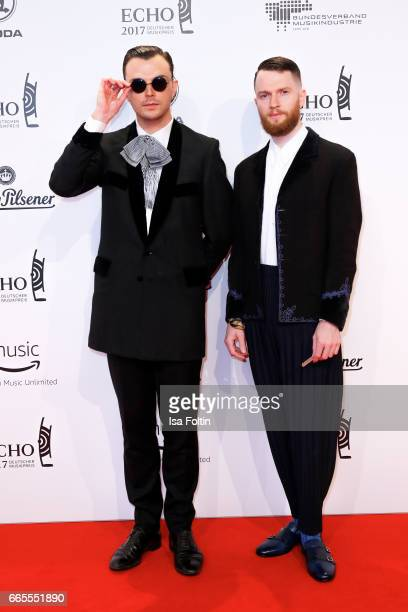 Theo Hutchcraft and Adam Anderson members of the british band Hurts during the Echo award red carpet on April 6 2017 in Berlin Germany