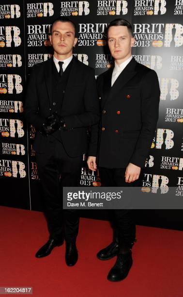 Theo Hutchcraft and Adam Anderson of Hurts arrive at the BRIT Awards 2013 at the O2 Arena on February 20 2013 in London England