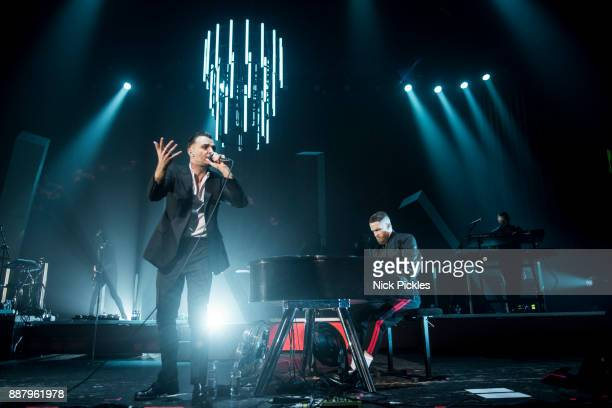 Theo Hutchcraft and Adam Anderson of Hurts perform at O2 Academy Brixton on December 7 2017 in London England