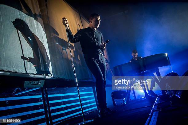 Theo Hutchcraft and Adam Anderson of Hurts perform on February 23 2016 in Milan Italy